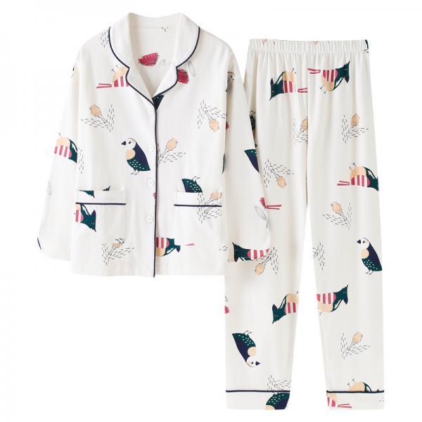 睡衣女长袖春秋季纯棉韩版女士大码薄款春夏季全棉家居服两件套装